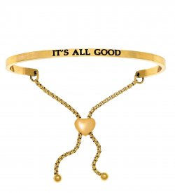 """Intuitions Adjustable Stainless Steel Bracelet Inspirational """"It's All Good"""""""
