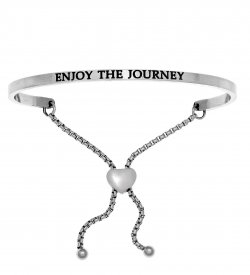 """Intuition's Adjustable Stainless Steel Bracelet """"Enjoy The Journey"""" Silver-Tone"""